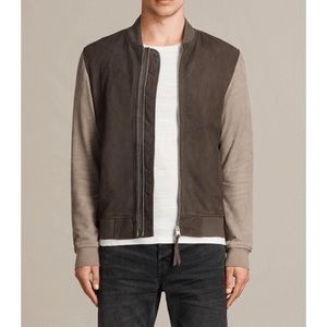 ALL SAINTS Tally Suede Bomber Jacket Size L